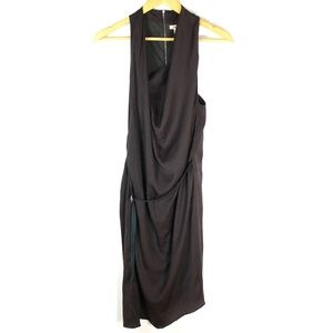 Helmut Lang belted sleeveless silk dress
